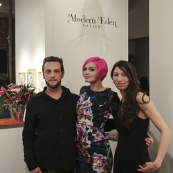 Modern Eden Gallery owners Bradley Platz and Kim Larson with Redd Walitski.