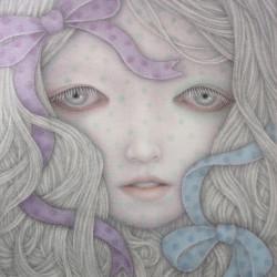 "Goto Atsuko ""Doll Play""Cotton, glue, pigments, arabic gum, japanese ink, lapis lazuli 10.7×8.7"""