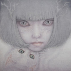 "Goto Atsuko ""Tag Game""Cotton, glue, pigments, arabic gum, japanese ink, lapis lazuli 10.7×8.7"""
