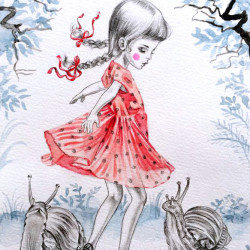 "Julie Filipenko ""Lucky Stars""Graphite and water color on aquarelle paper 22x18″"