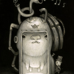 "Kristian Adam ""Beep Box""Pencil and acrylic on board 8x10″"