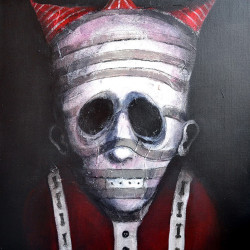 "Eric Lacombe ""Le Roi Rouge pays des merveilles""Acrylic on canvas 21x18"""