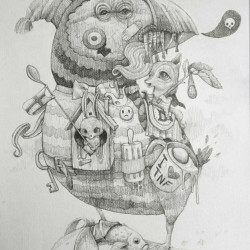 "Dulk ""Islandreams"" Pencil on paper 11.8x16.5"""