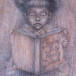 "Vavje ""Post Mortem""Black/white pencil on wood 8x24"""