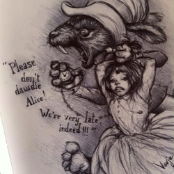 "Vavje ""Don't Dawdle Alice""Black/white pencil on wood 8x11"""