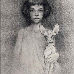 "Vavje ""Alice And Me""Bic/white pencil on paper 5x7"""