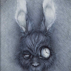 "Vavje ""Alice is Late I""Bic/white pencil on paper 5x7"""