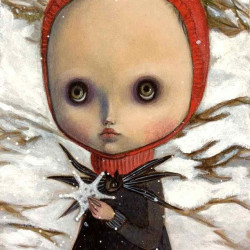 "Selena Leardini ""La Neve Nel Cuore""Acrylic on cardboard 6.9x9.8"""