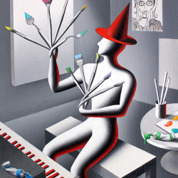 "Mark Kostabi ""A Brush with Madness"" Oil on canvas 12x10"""