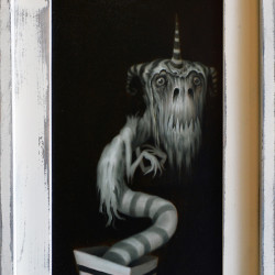 "Matt Dangler ""The Wicked Wiggler"". Oil on board 15x9"""
