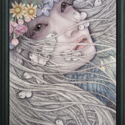 "Atsuko Goto ""Nightmare in the Flower Garden"". Cotton, glue, pigments, gum Arabic, Japanese ink, lapis lazuri, 10¾x7½"""