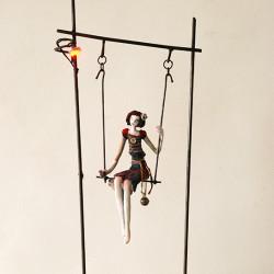 """Clémentine de Chabaneix """"Une Nuit à Belleville """".  Mixed media sculpture 24½x10¼x4"""""""