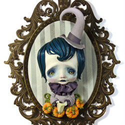 "Domenico Scalisi ""Little Treat"". Polymer clay on brass frame 9x7"""