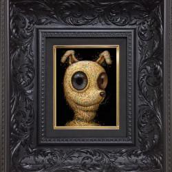 "Naoto Hattori ""Smile Dawg"". Acrylic on wood panel 5.5x7"""