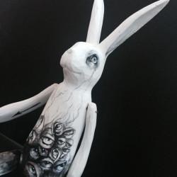 "Ixie Darkonn ""C.U.L8R"". Wood, plaster, resin, acrylic. 29×8 cm"